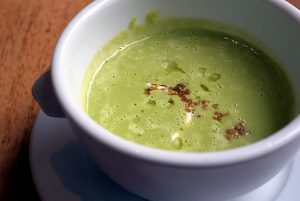 split pea soup recipe -- photo of soup in bowl