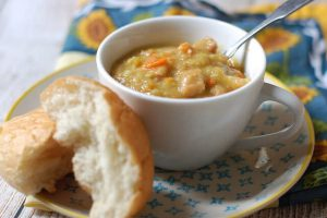 split pea soup recipe -- photo of pea soup in bowl