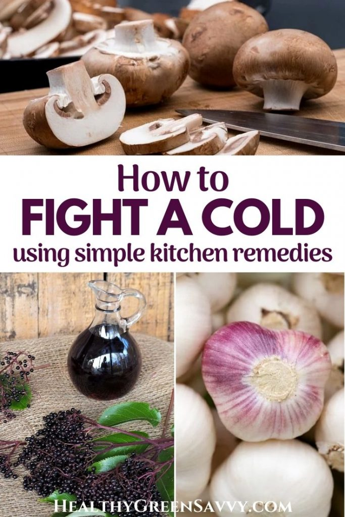 pin with title text and photos of mushrooms, garlic bulbs, and elderberry syrup