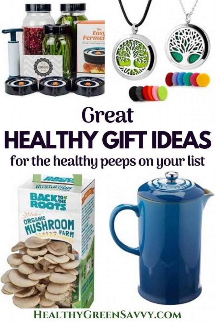 pin with photos of healthy gifts: fermenting kit, diffuser necklace, mushroom kit, ceramic French press