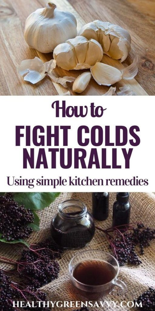 pin with photos of garlic bulbs and elderberry syrup with title text