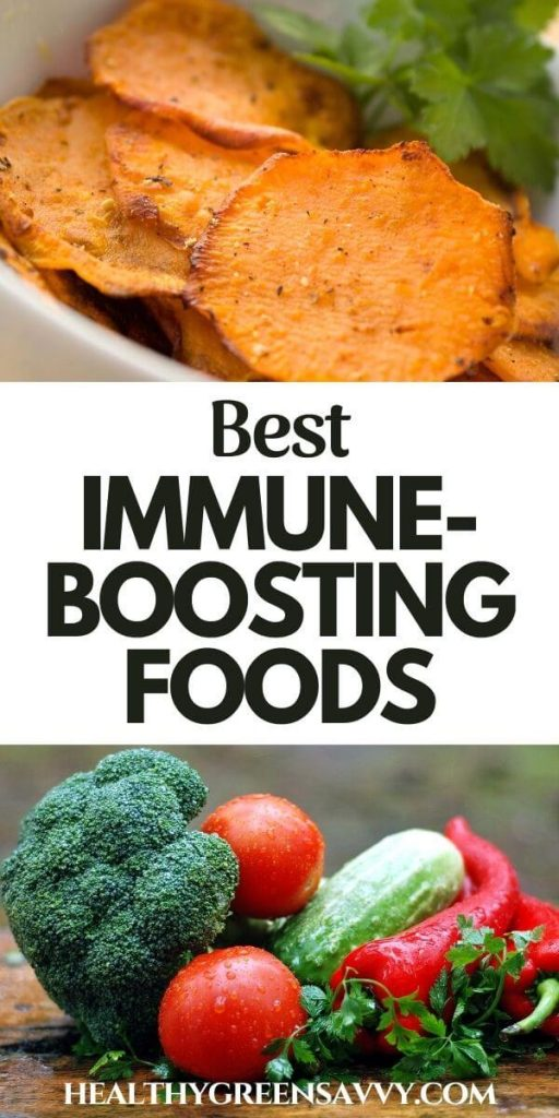 pin with title text and photos of immune supporting vegetables sweet potatos, broccoli, tomatoes, red pepper