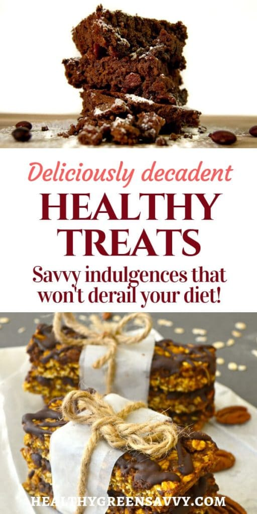 healthy treats -- pin with title text and photos of brownies and pumpkin granola bars