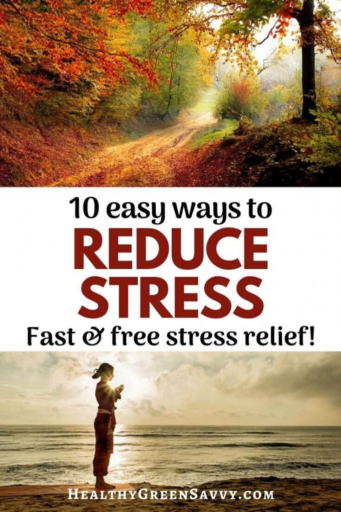 pin with photo of ways to reduce cortisol: path through woods and someone doing yoga on beach
