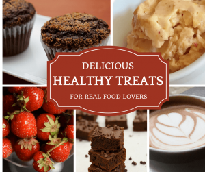 Healthy treats -- collage with healthy sweets like banana ice cream and strawberries