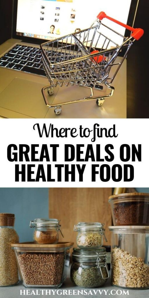 pin with title text and photos of shopping cart with laptop and containers of pantry staples to help eat healthy on a budget