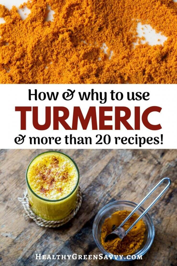 Health benefits of turmeric -- pin with title text and photos of ground turmeric with golden milk