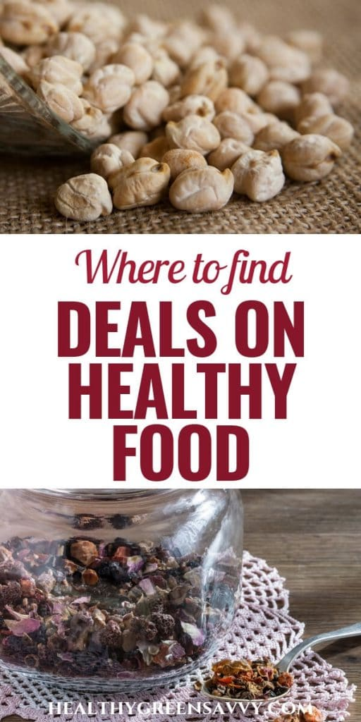 eat healthy on a budget -- pin with title text and photos of dried chick peas and herbal tea