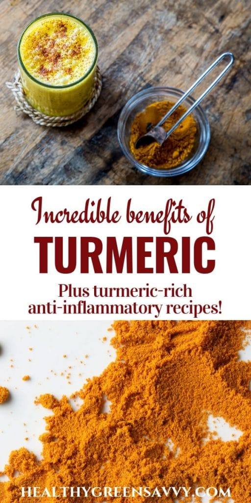 Health benefits of turmeric -- pin showing title text and ground turmeric with golden milk