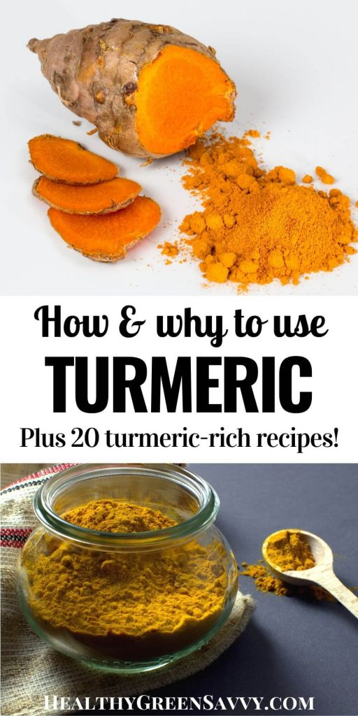 pin with title text and photos of turmeric root and ground turmeric