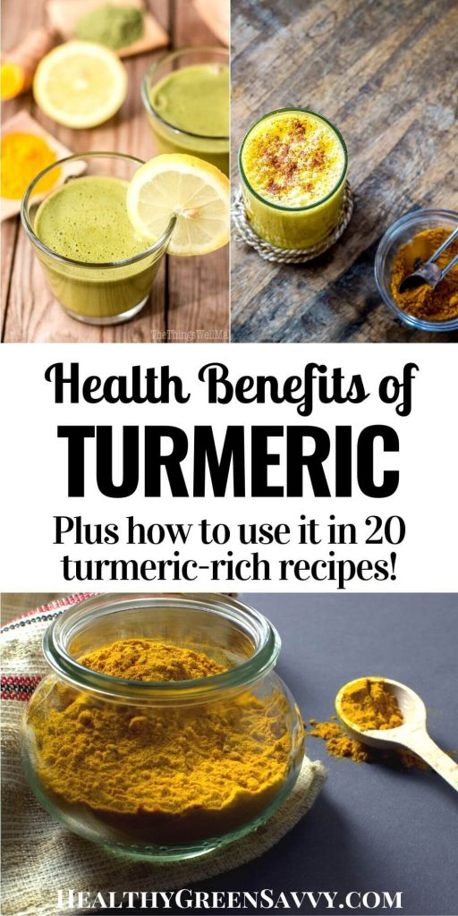 pin with title text and photos of turmeric smoothie, golden milk, and ground turmeric in a jar