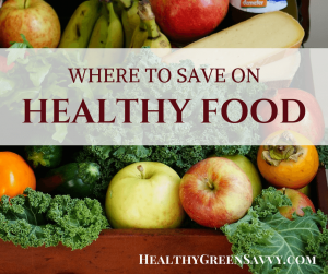 eat healthy on a budget -- cover photo of fresh fruits and vegetables with title text overlay