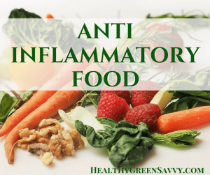 Anti inflammatory food cover image of vegetables and walnuts with text overlay