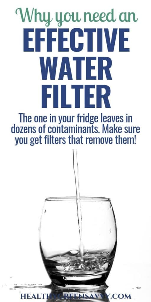 water filter -- pin with photo of water glass and title text