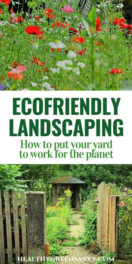 ecological landscaping -- pin with photo of wildflower meadow and yard with gate