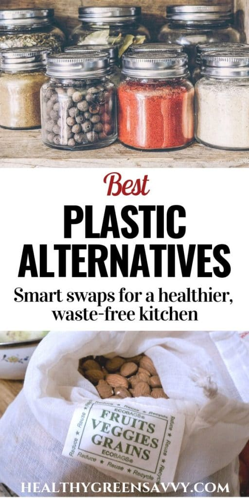 plastic altervnatives -- pin with photos of glass jars of spices and cloth bag of nuts with title text