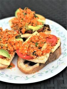 Carrot Slaw and Baked Tofu Crostini Recipe: Delicious and healthy vegan dish, with gluten-free and grain-free options. | Healthy Recipes | Vegan Recipes | Vegetarian Recipes |