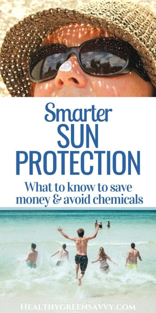 sun protection -- pin with title text and photos of woman with sunblock on her nose and kids running into the ocean