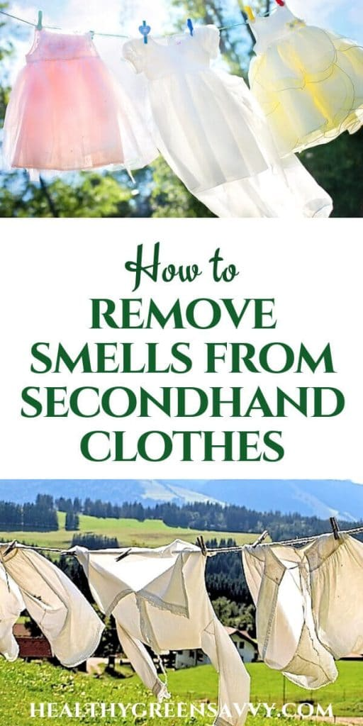 how to get smells out of clothes - pin showing clothes on clothesline