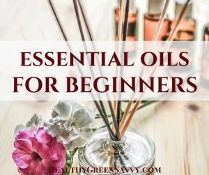 how to use essential oils for beginners -- cover photo of reed diffuser with text overlay