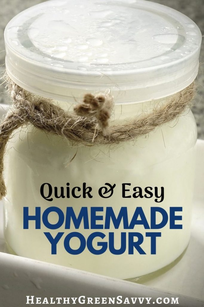 pin with photo of jar of yogurt with title text overlay