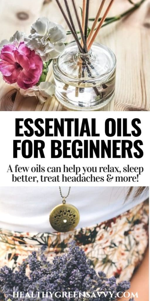 How to use essential oils for beginners -- pin showing reed diffuser and necklace diffuser with title text