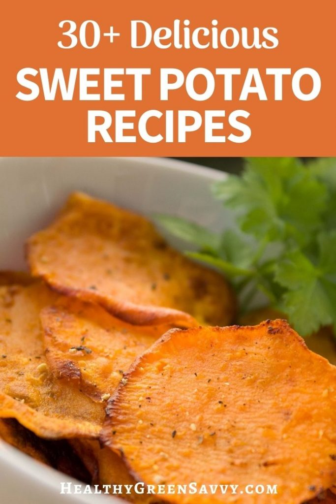 pin with photo of sliced baked sweet potatoes and title text