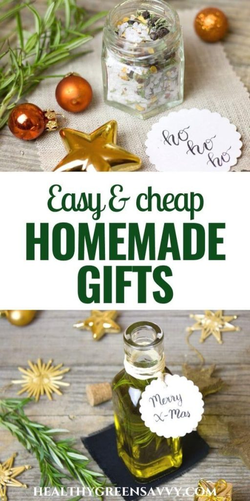 pin with title text and photos of homemade gifts: DIY bath salts and herb-infused oil