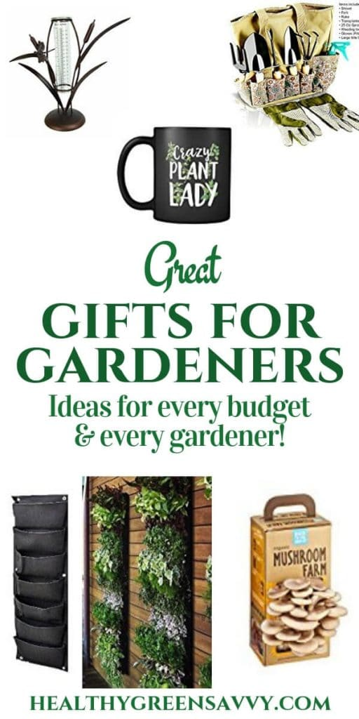 gifts for gardeners ideas --pin with photos of gifts for gardeners like rain gauge, tools, vertical planters