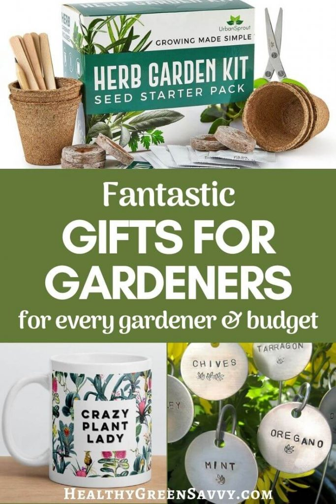 pin with title text and photos of gifts for gardeners: herb kit, mug, plant markers