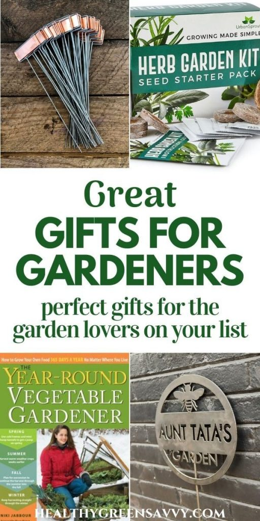 pin with title text and photos of gifts for gardeners: plant markers, herb growing kit, book cover, personalized sign