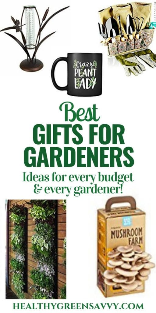 pin with photos of gifts for gardeners plus title text