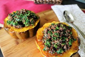 healthy kale recipes -- photo of kale-stuffed squash from Finding Happy in Healthy