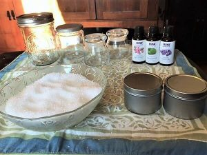 DIY bath salts -- photo of salts, oils and jars