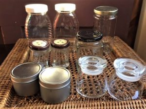 DIY bath salts -- photo of glass jars for upcycling
