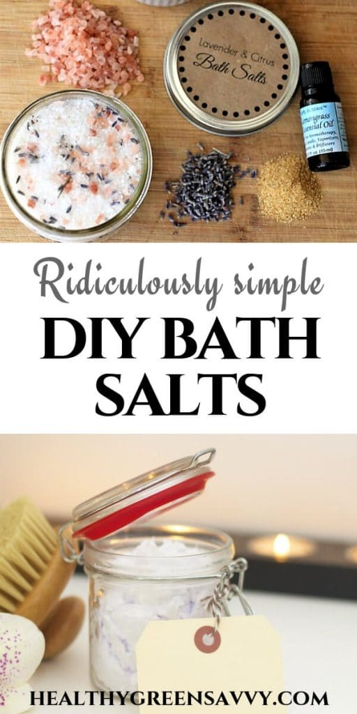pin with title text and photos of DIY bath salts and herbs
