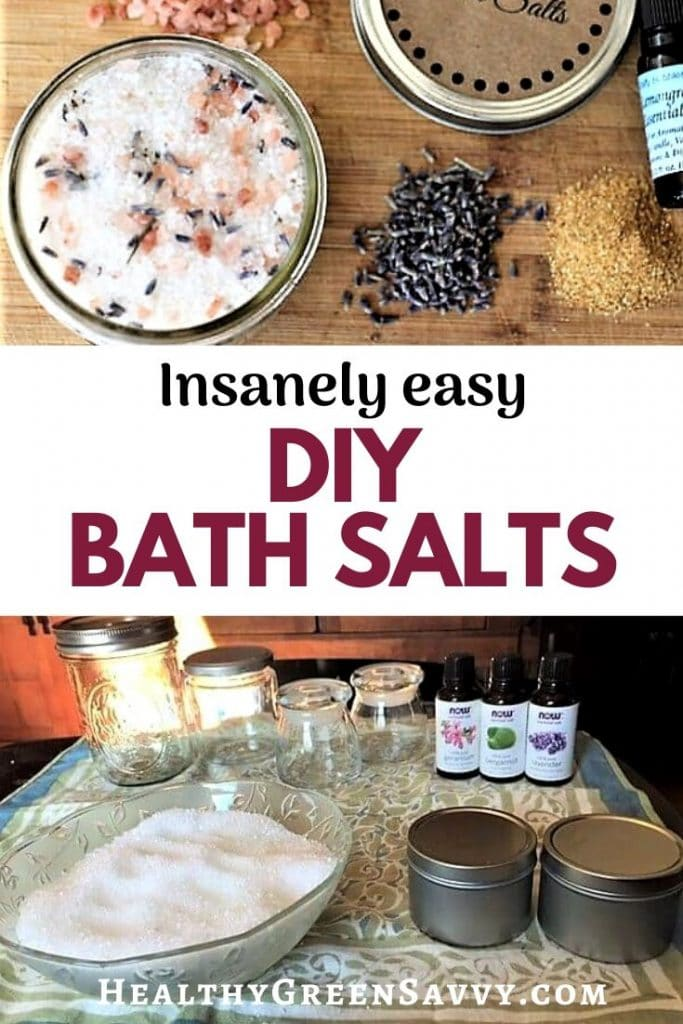 pin with photo with bath salts, oils, and herbs