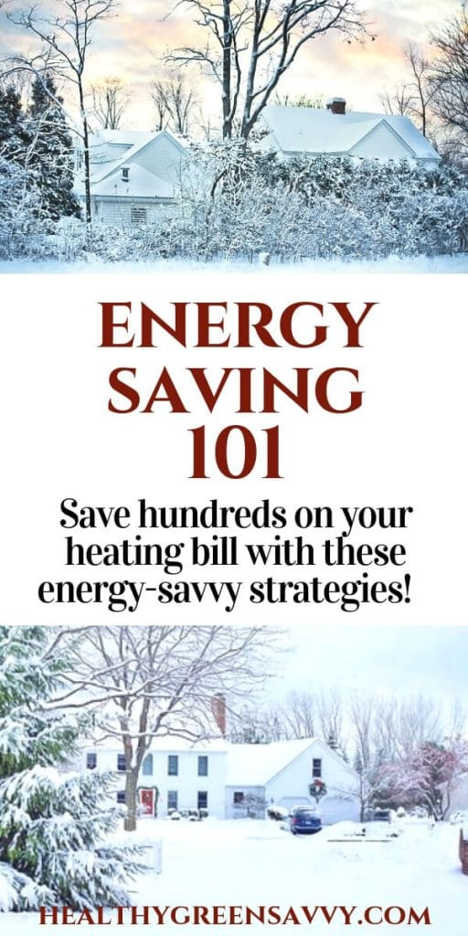 how to save energy -- pin showing title text and houses in snow