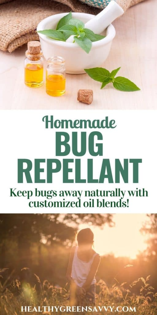 Homemade bug repellent -- pin with title text and photos of herbs with mortar and pestle and essential oil, girl walking in meadow