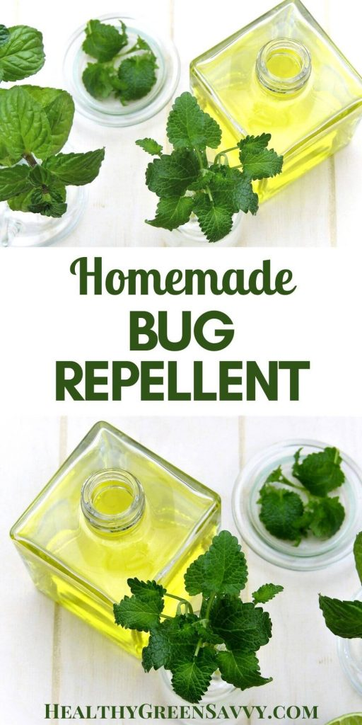 pin with title text and photos of herbs and essential oil used in homemade bug repellent