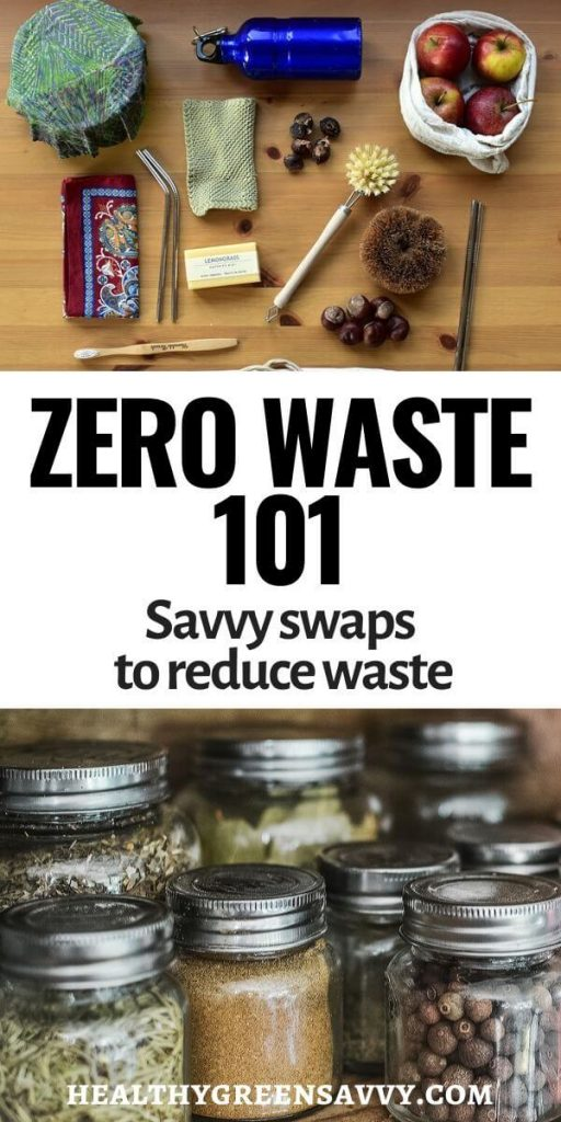 pin with photo of zero waste tools (metal water bottle, cloth bag, glass jars) and title text