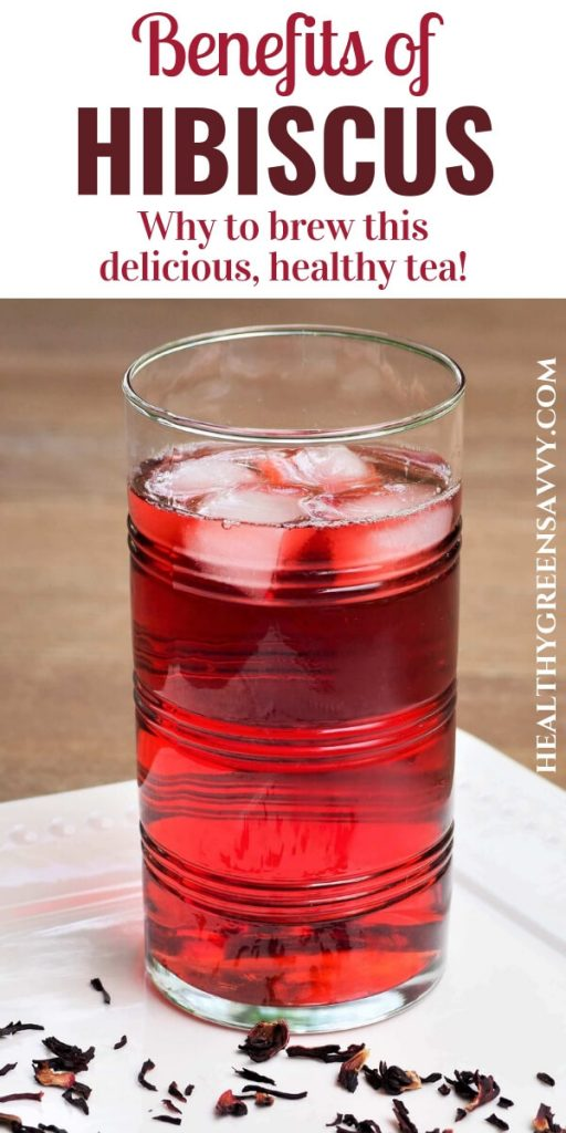 benefits of hibiscus tea -- pin with photo of oced hibiscus tea and title text