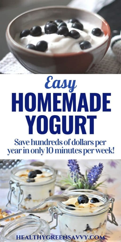 how to make yogurt: pin with photos of bowl of yogurt and blueberries and pots of yogurt parfait