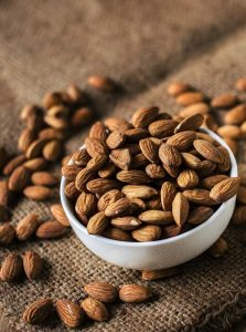 vegan protein sources -- photo of almonds in bowl