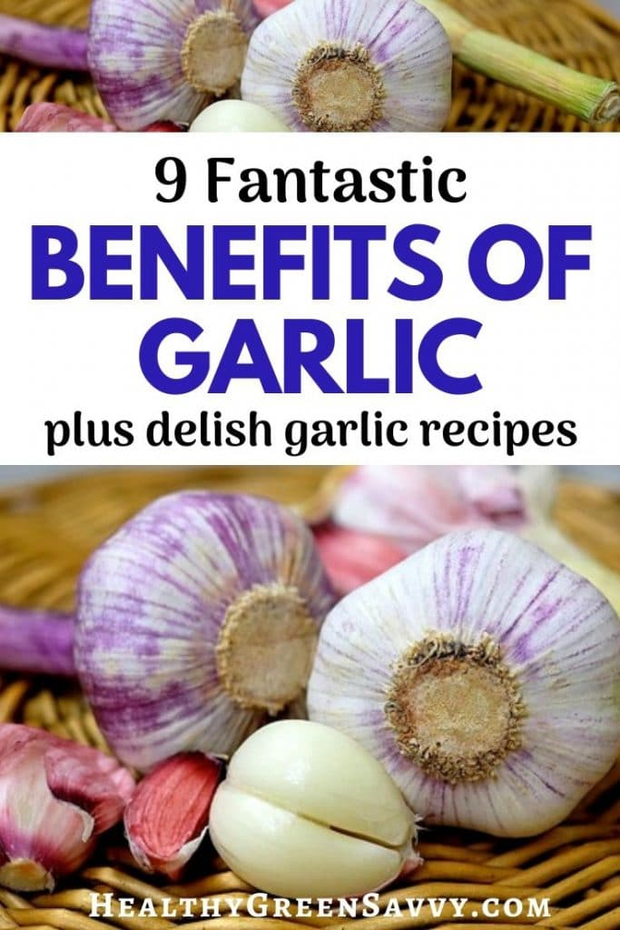 pin with photos of garlic bulbs and title text