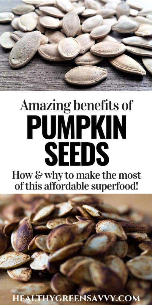pin with photos of pumpkin seeds and title text