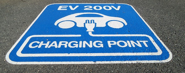 fuel efficient cars -- street sign showing car charging point