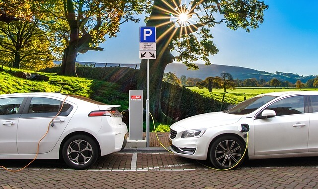 fuel efficient cars -- photo of cars hooked up to public charger