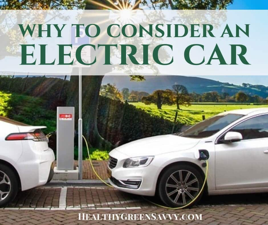 fuel efficient cars -- cover photo of white electric car plugged in with text overlay