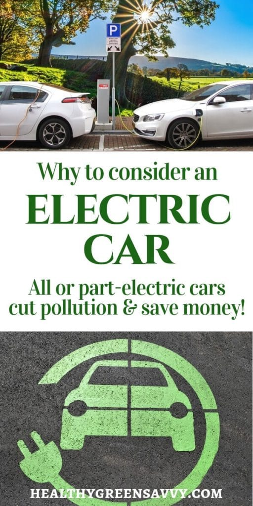 fuel efficient cars -- pin with photo of plugged in cars and title text